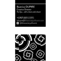 Made business cards for The Society of Scent (6 in total). I also made the layout of the back of the card using their logo (made by another designer).